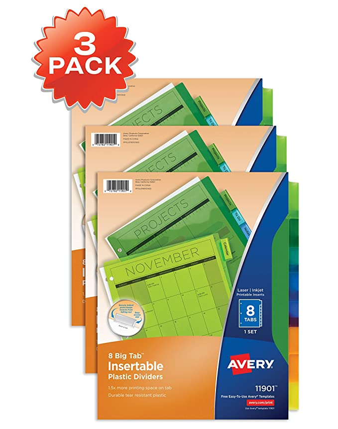 amazoncom avery 8 tab plastic binder dividers insertable multicolor big tabs 3 sets 11901 office products