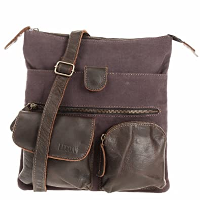 21b01d230e4ba LECONI Umhängetasche Canvas   Leder kleine Schultertasche Handtasche Damen  + Herren Vintage Retro Style 28x30x5cm dunkelbraun