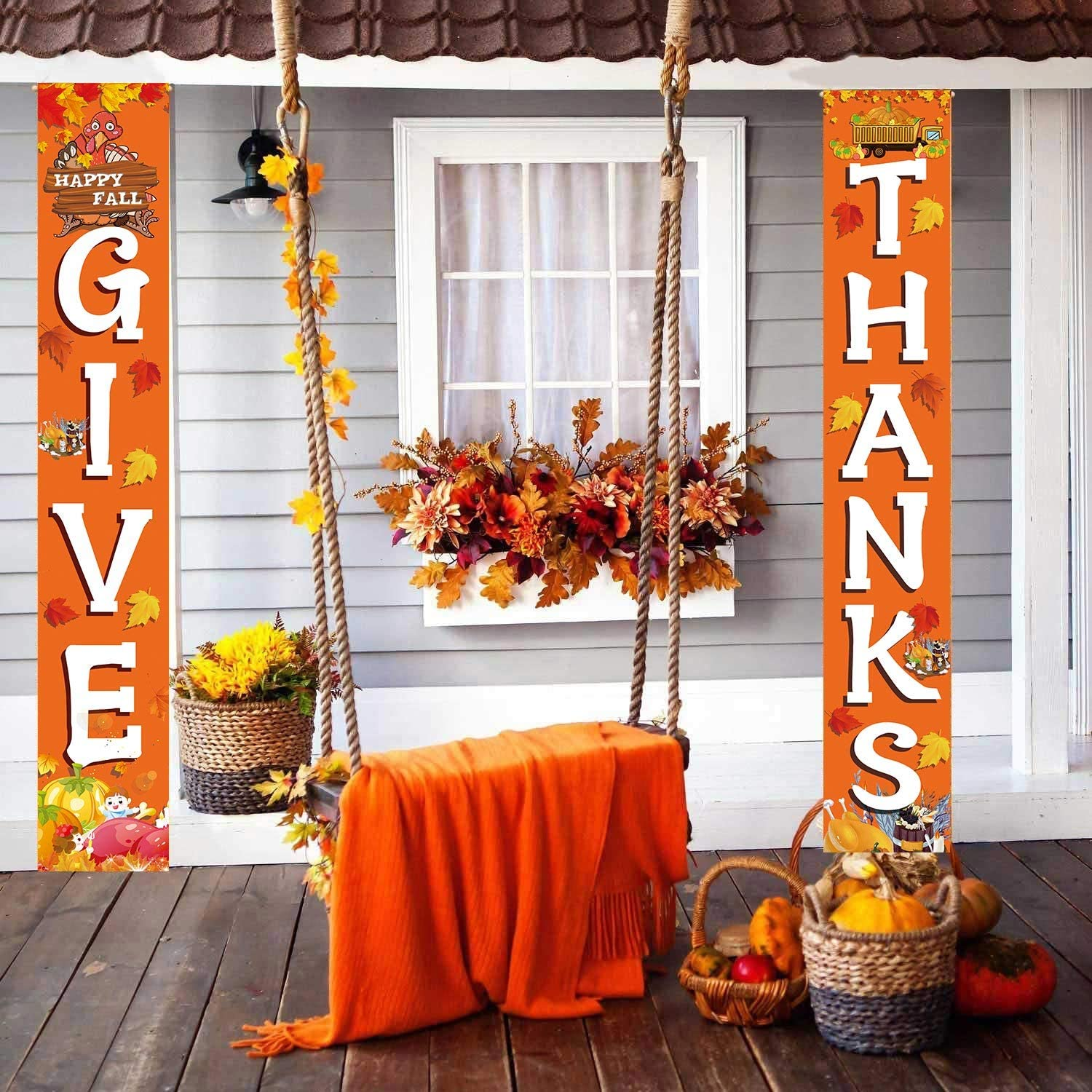 GIVE Thanks Hanging Banner Porch Sign Autumn Pumpkin Maple Leaf Backdrop Flag Fall Harvest Welcome Banner for Indoor Outdoor Wall Door Decoration Thanksgiving Party Decorations 72x12