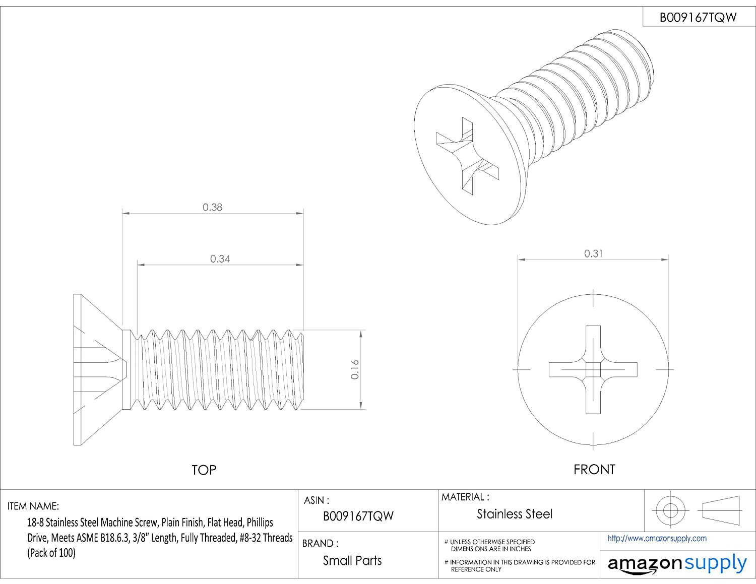 Plain Finish Fully Threaded Flat Head 18-8 Stainless Steel Machine Screw 3//8 Length Meets ASME B18.6.3 Phillips Drive 3//8 Length Small Parts #8-32 UNC Threads Pack of 100
