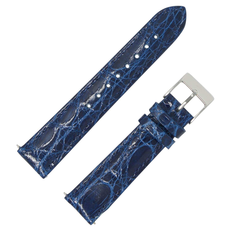 クイック変更Genuine Crocodileパッド入り時計ストラップ 14mm ブルー 14mm ブルー ブルー 14mm B0763Z37XB
