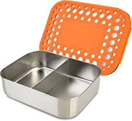 LunchBots Duo Stainless Steel Food Container - Two Section Design Perfect for Half of a Sandwich and a Side or for Use as a Snack Box - Eco-Friendly, Dishwasher Safe and BPA-Free - Orange Dots