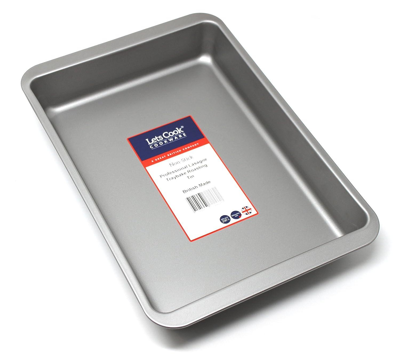 realizzata in Regno Unito teglia per lasagne professionale con doppio rivestimento antiaderente alte prestazioni Lets Cook Cookware