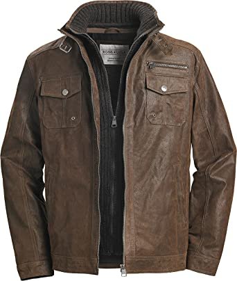 best website 9286d d6bfc Ross & Cole Herren Lederjacke in Hellbraun mit Strickeinsatz ...