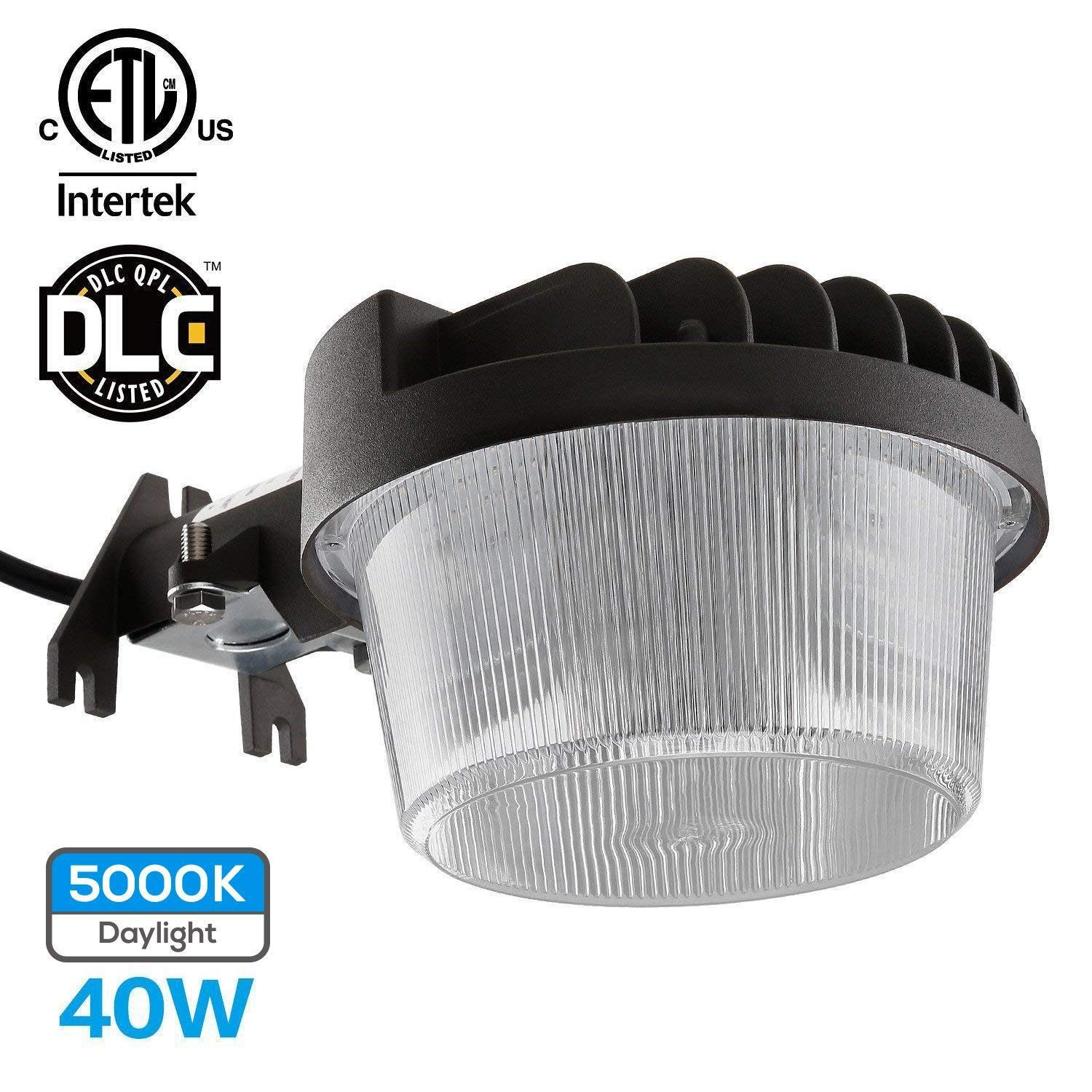 TORCHSTAR Dusk-to-Dawn LED Outdoor Barn Light (Photocell Included), 40W (300W Equiv.), 4800lm Ultra-Bright Area Light, 5000K Daylight, DLC & ETL-Listed Yard Floodlight, 5-Year Warranty