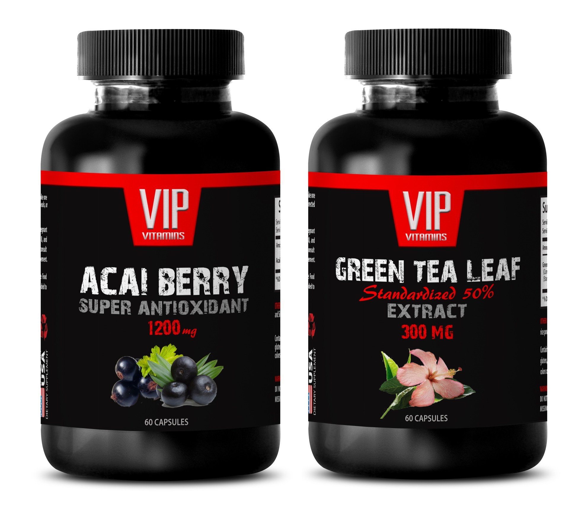 fat burner and metabolism booster - ACAI BERRY - GREEN TEA - acai chews - (2 Bottles Combo) by VIP VITAMINS LLC (Image #1)