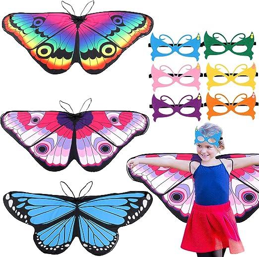 vamei 3 Piezas alas de Mariposa niña 6 Piezas Máscara Mariposa ...