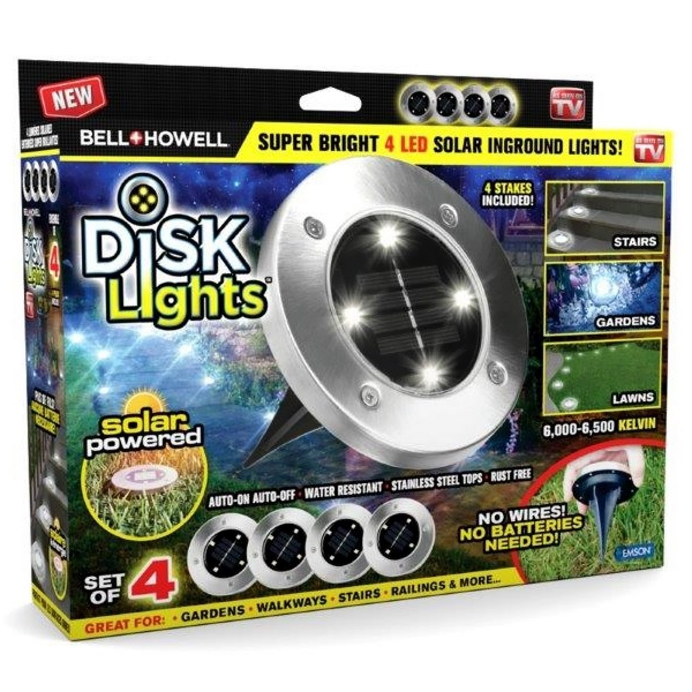 Erica 4Pcs Disk Lights 4-LED Solar-powered Auto On/Off Outdoor Lighting