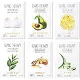 BALLONBLANC Therapy Face Facial Mask Sheet Infused with Aloe, Tea Tree, Avocado, Vitamin, Honey & Egg White 6 Skin Nutritiona
