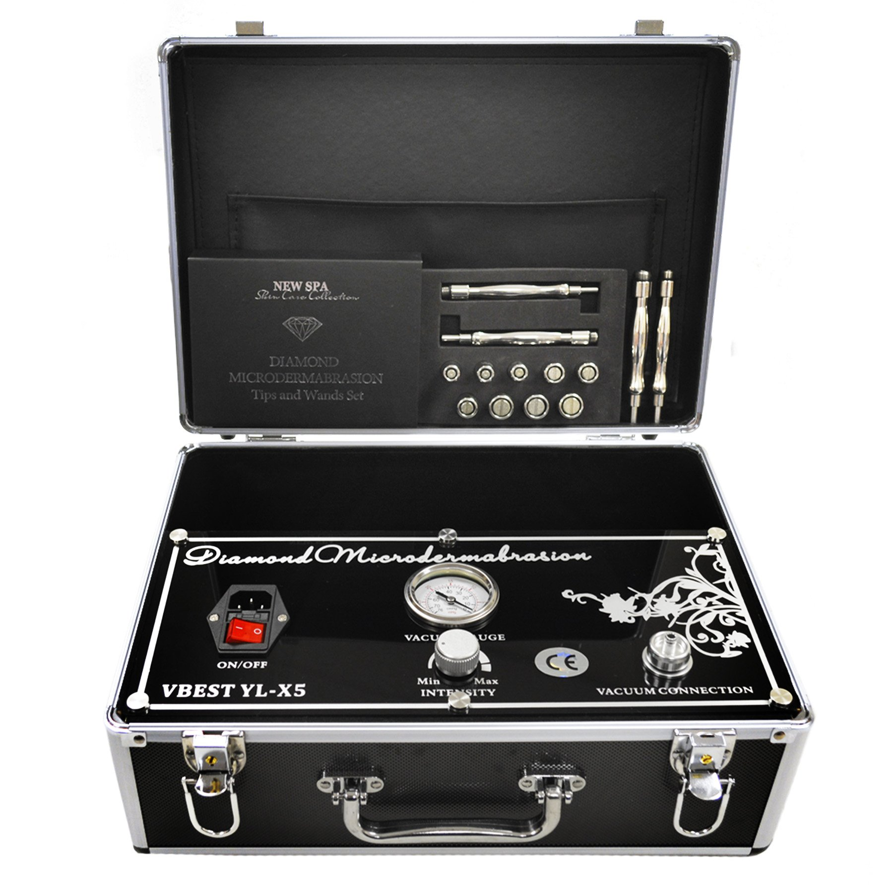 Professional Microdermabrasion Machine Kit by New Spa | Salon Grade 25inHG Suction | Face and Body Treatment Tips 18pcs