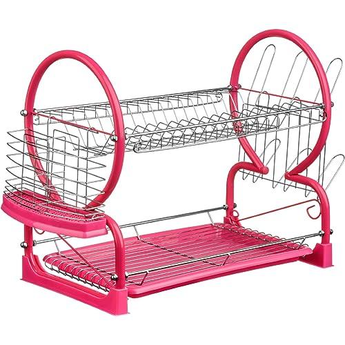 Premier Housewares Hot Pink 2-Tier Dish Drainer