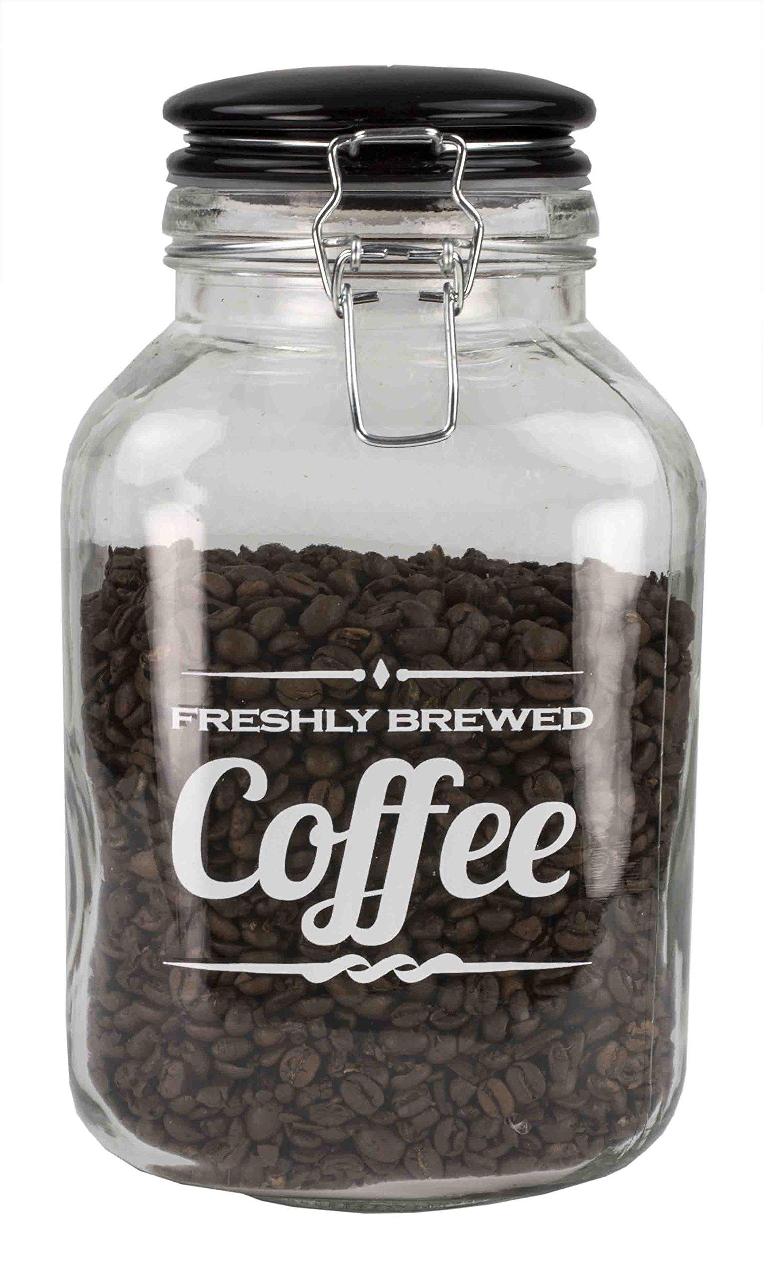 Home Basics Glass Jar with Ceramic Flip Lid Top (Coffee)
