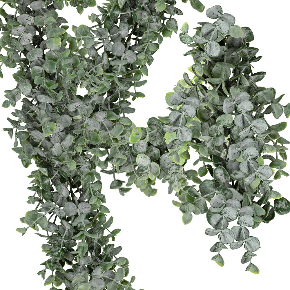 Supla 1 Pcs Faux Eucalyptus Leaves Garland Fake Artificial Hanging Eucalyptus Greenery Garland - 8.4 Ft Long x 7.9'' Wide in Grey Green for Wedding Holiday Decorations UV Protected Indoor Outdoor by Supla