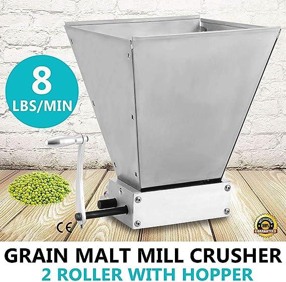 S SMAUTOP Trituradora de molienda de Cebada de 2 Rodillos de Molino de Grano de Malta de Cebada Manual para Hacer Cerveza casera (batido de Mano): Amazon.es