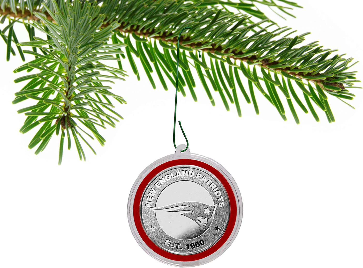 New England Patriots Silver Mint Coin Christmas Ornament & Holiday Gift Collectible