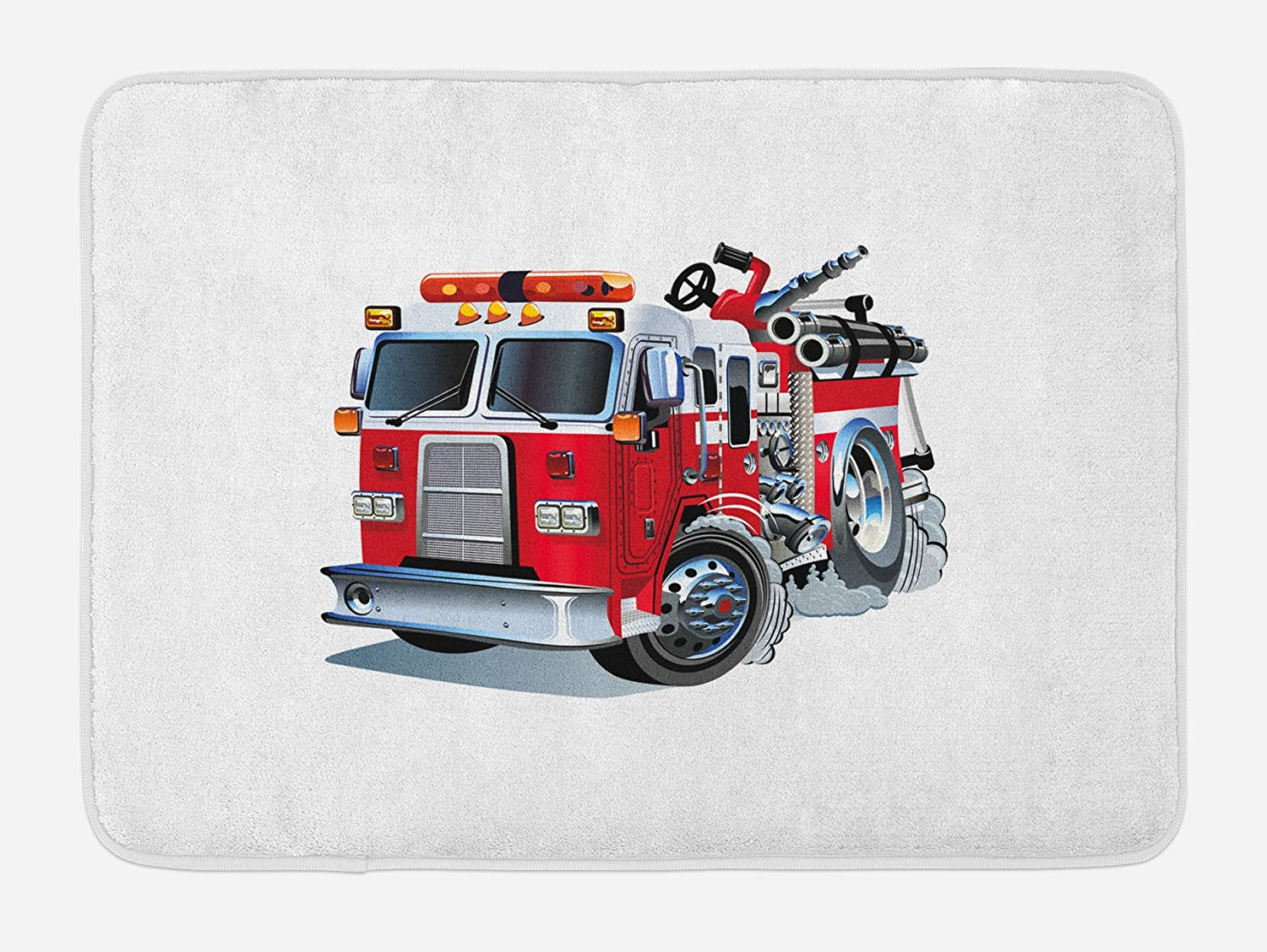 """Ambesonne Truck Bath Mat, Fire Brigade Vehicle Emergency Aid for Public Firefighter Transportation Themed Lorry, Plush Bathroom Decor Mat with Non Slip Backing, 29.5"""" X 17.5"""", Grey Red"""