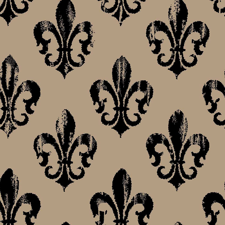 Springs Creative Fabric Burlap Prints Rustic Fleur De Lis Fabric Sold By The Yard 47 48 Inch Black Amazon Com