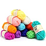 LIHAO Crochet Yarn Coloured Acrylic Wool Knitting Yarn Set (12 pack, 26m/roll)