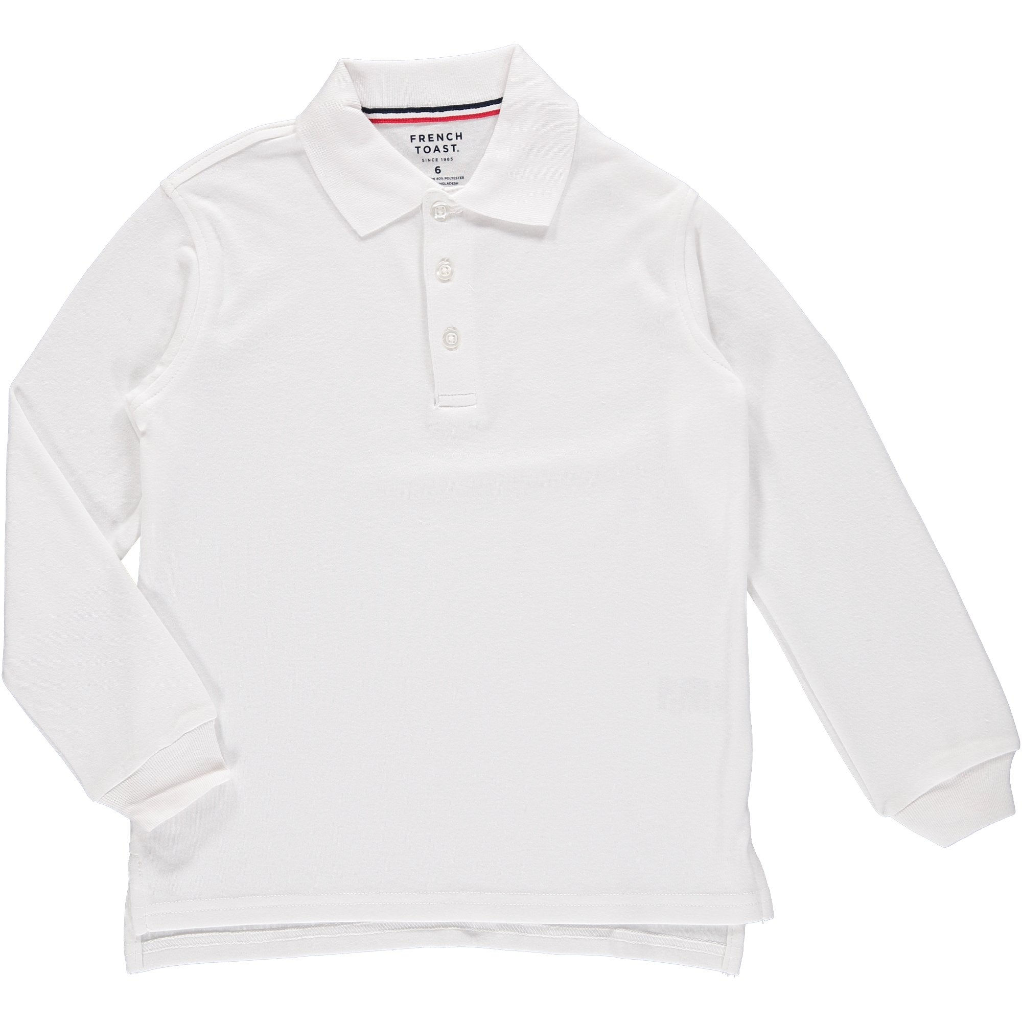French Toast Long Sleeve Interlock Polo Boys White 16