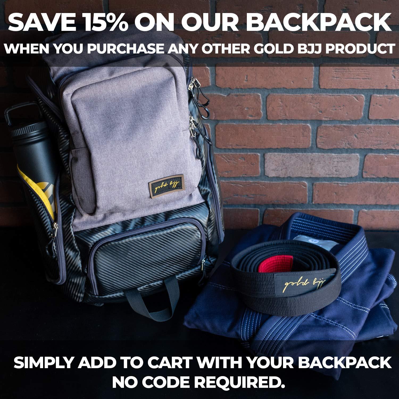 Heavy Duty Gym Bag with Waterproof Gi Pocket Black Gold BJJ Jiu Jitsu Backpack