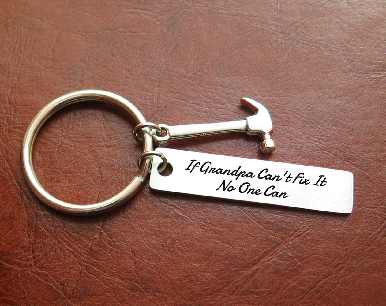 If Grandpa Can't Fix It No One Can - Stainless Steel Hammer Keychains Birthday Christmas Gift For Grandad Father's Day Gifts for Grandpa