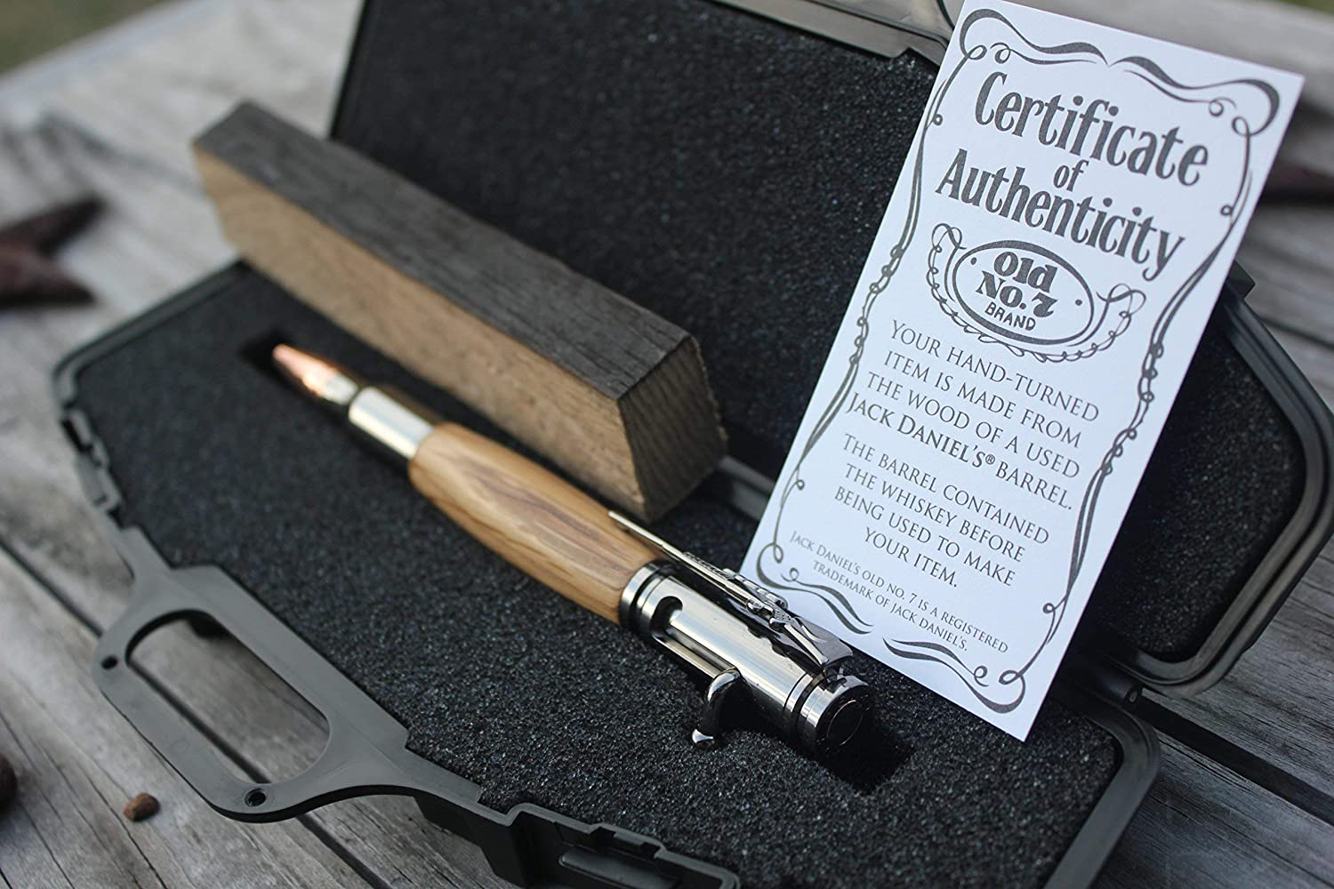 Jack Daniels Whiskey Barrel Wood Turned Pen - 30 Caliber Bolt Action Bullet Pen With Rifle Case Pen Box Stave Cutting and Certificate