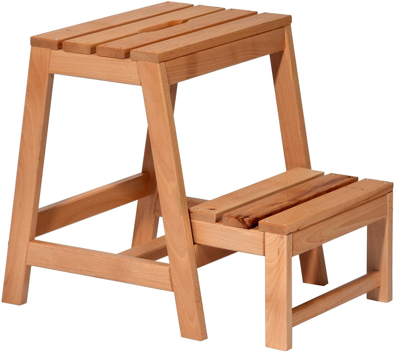 Klapphocker holz  dobar Stabiler Klapphocker aus FSC Holz, 2 Stufen Tritthocker ...