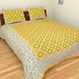 Bed Zone Cotton Rajasthani Jaipuri Double Bedsheet with 2 Pillow Cover (Yellow)