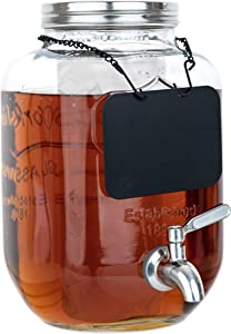 Glass Beverage Dispenser with Ice and Fruit Infusers, Stainless Steel Spigot, Chalkboard Label and Metal Lid, Wide Mouth Mason Jar Drink Dispenser, for Iced Tea, Kombucha Fermenting and more