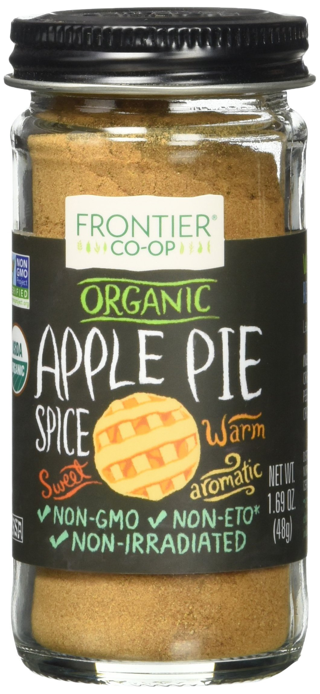 Frontier Natural Products Co-Op Organic Apple Pie Spice Salt-Free Blend 1.69 oz Jar