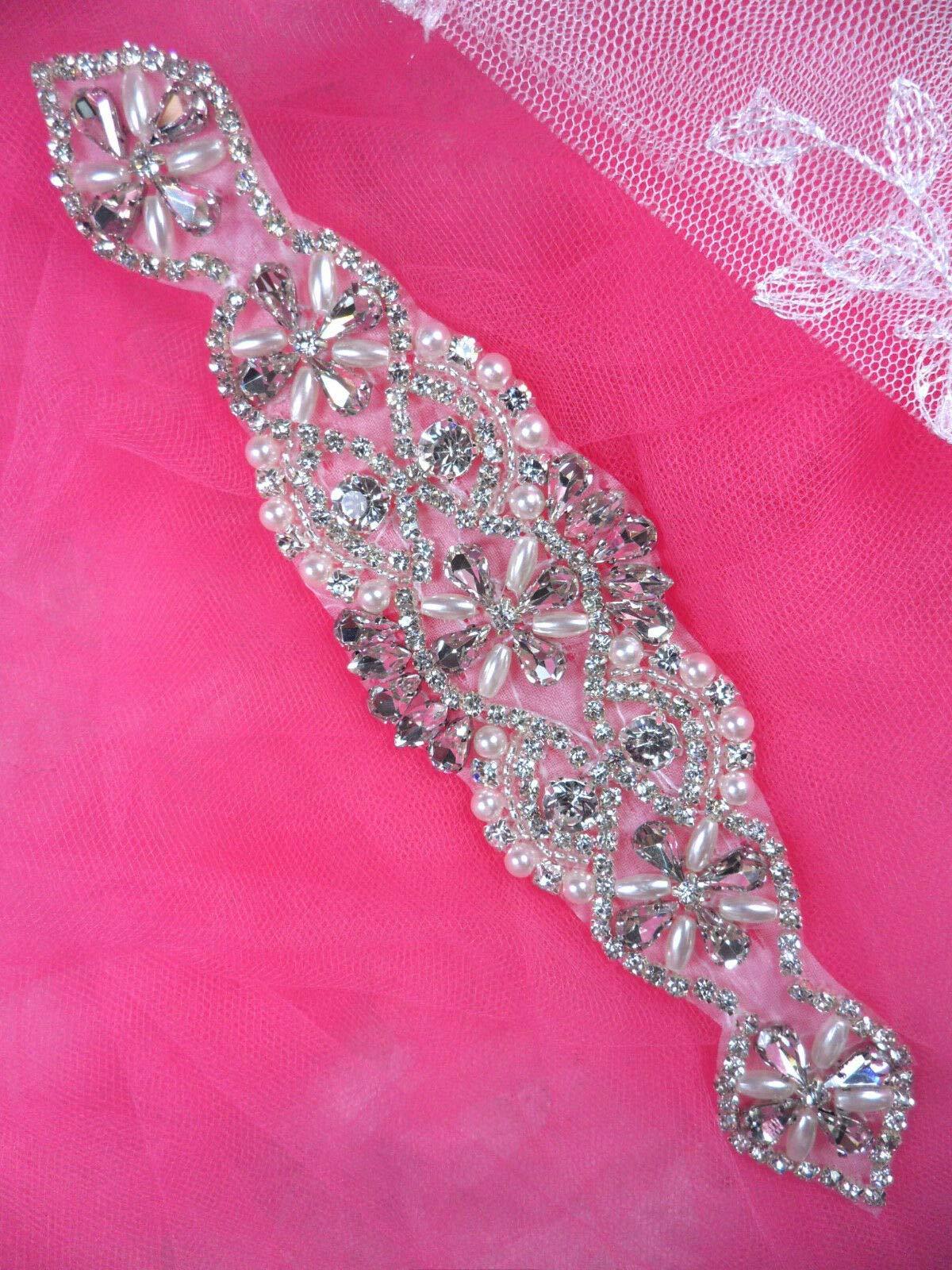 XR323 Bridal Sash Motif Silver Beaded Crystal Rhinestone Applique w/Pearls 8'' by GL Appliques