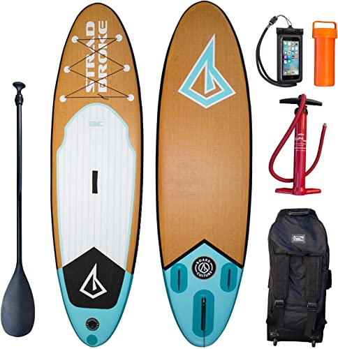 Board Culture Inflatable Stand Up Paddle Board 10 6 Stradbroke SUP Bamboo Design with Bravo Double Action Pump Travel Backpack on Wheels Water Resistant Phone Cover 3 Fins Telescopic Paddle
