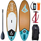 Board Culture Inflatable Stand Up Paddle Board 10'6 Stradbroke SUP Bamboo Design with Bravo Double Action Pump + Travel Backpack on Wheels + Water Resistant Phone Cover + 3 Fins & Telescopic Paddle