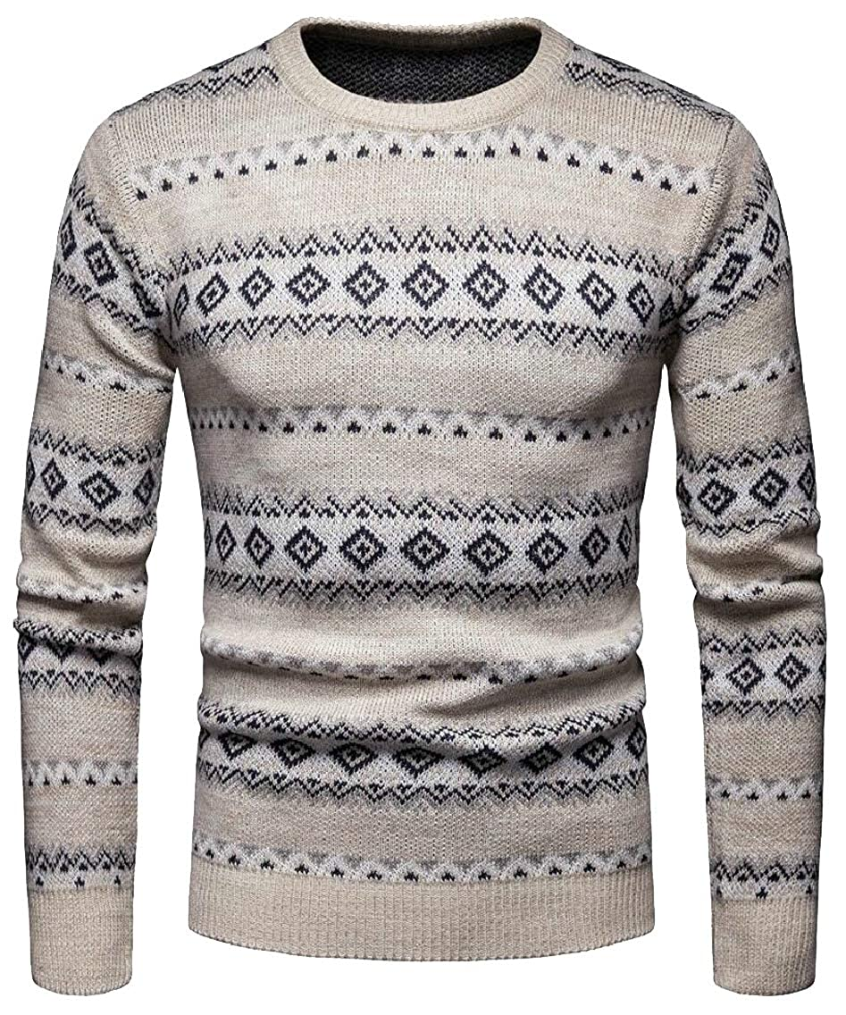 Jmwss QD Mens Slim Fit Knitted Stylish Warm Printing Round Neck Pullover Sweaters