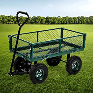 Garden Utility Cart Wagons Utility Outdoor Heavy Duty Steel Frame Cart with Pneumatic Tires, 34