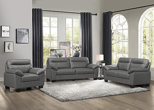 Homelegance 3-Piece Fabric Sofa Set, Dark Gray