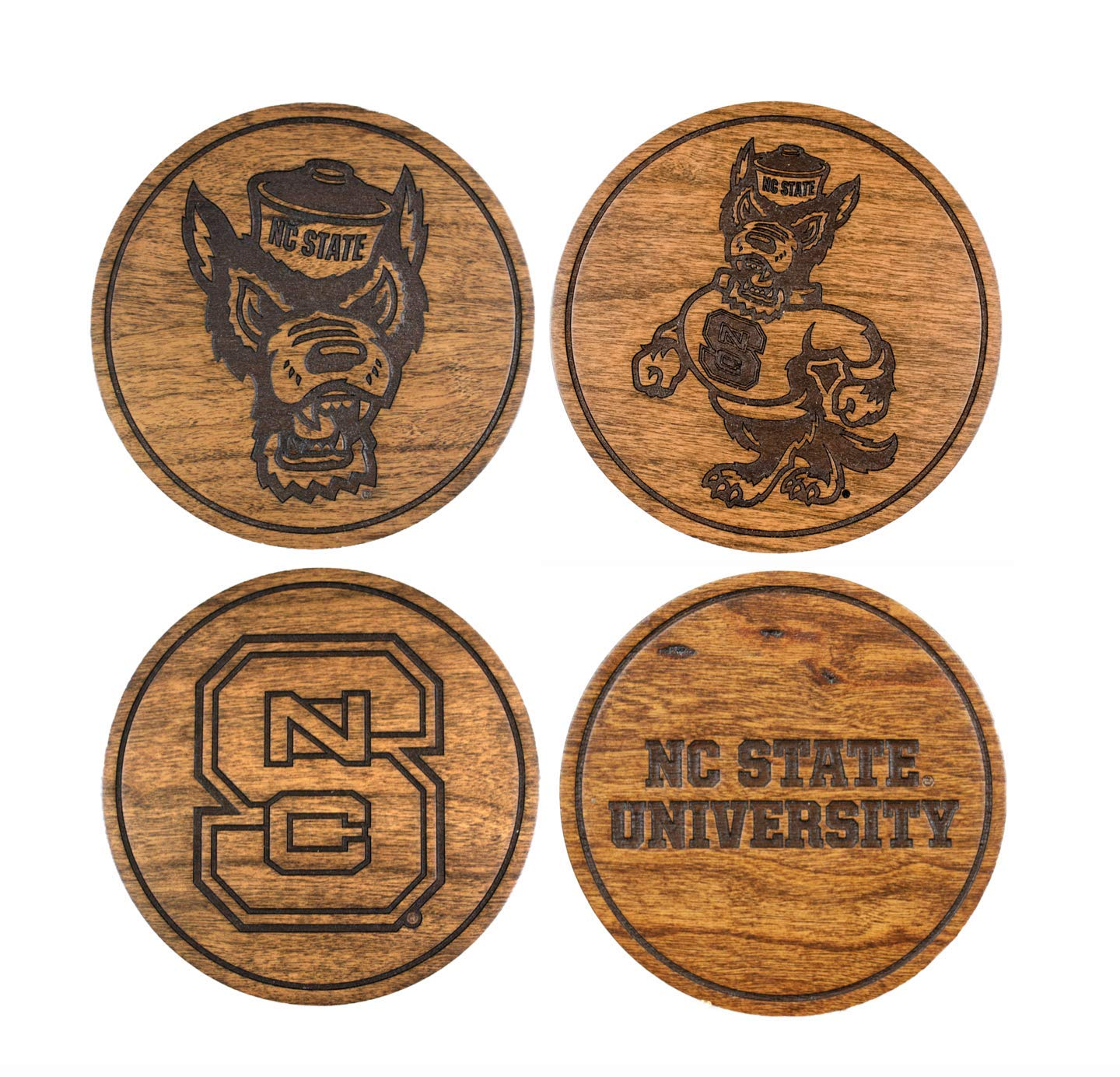 NC State Wolfpack Wooden Coasters Variety Pack - Made in USA
