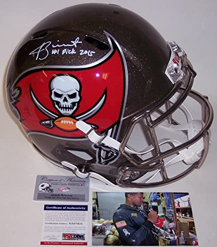 1d12a064a33 Amazon.com: Jameis Winston Autographed Hand Signed Tampa Bay Bucs Full Size  Speed Football Helmet - with 2015 #1 Pick inscription - PSA/DNA: Sports ...