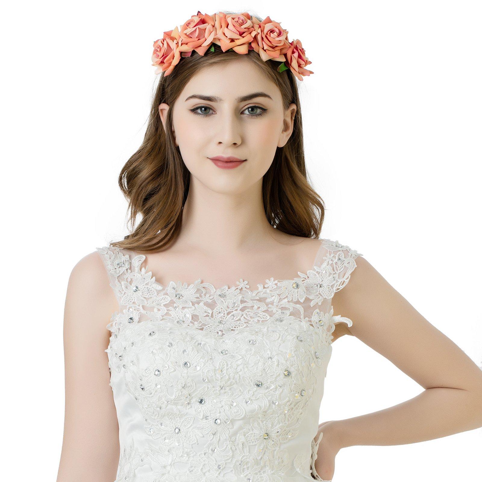 Wedding flower crown headpiece amazon girls rose flower crown headband bride or bridemaid hairband floral garland headpiecebohemia styles izmirmasajfo