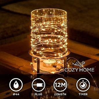 100 LED Batterie Lichterkette inkl Timer LEDS Warm Weiß 7,5m Kette Warmweiß