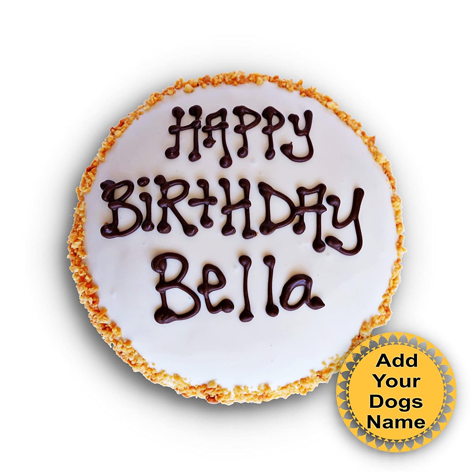 Amazon The Dog Bakery Birthday Cake Customize With Your Dogs Name Wheat Free Hand Made Tan Peanuts 5 Inch Circle Pet Supplies