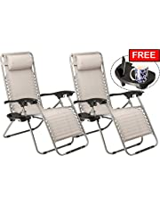 SUNMER Set Of 2 Heavy Duty Textoline Zero Gravity Chairs With Cup And Phone Holder | Garden Outdoor Patio Sunloungers | Folding Reclining Chairs | Lounger Deck Chairs