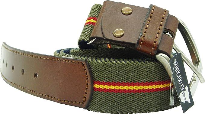 Pi2010 Cinturón de lona verde con la bandera de España y ...