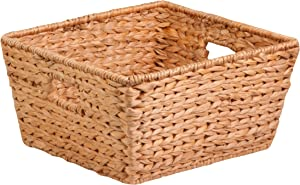 Honey-Can-Do STO-02885 Tall Water Hyacinth Basket Bin, Large, 15 L x 15 W x 8 H