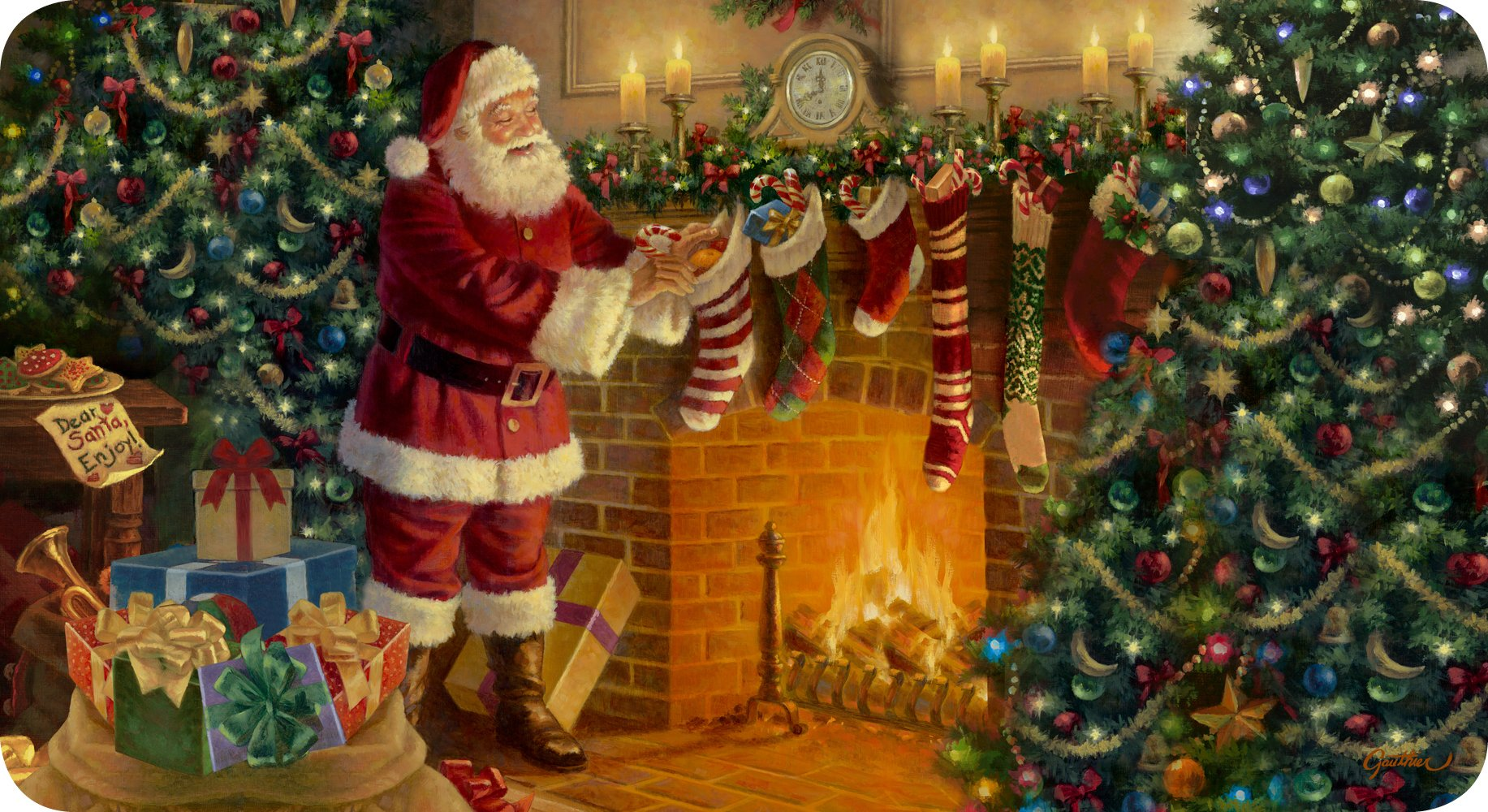 Toland Home Garden Stocking Stuffer 20 x 38 Inch Decorative Christmas Fireplace Santa Claus Anti Fatigue Comfort Mat