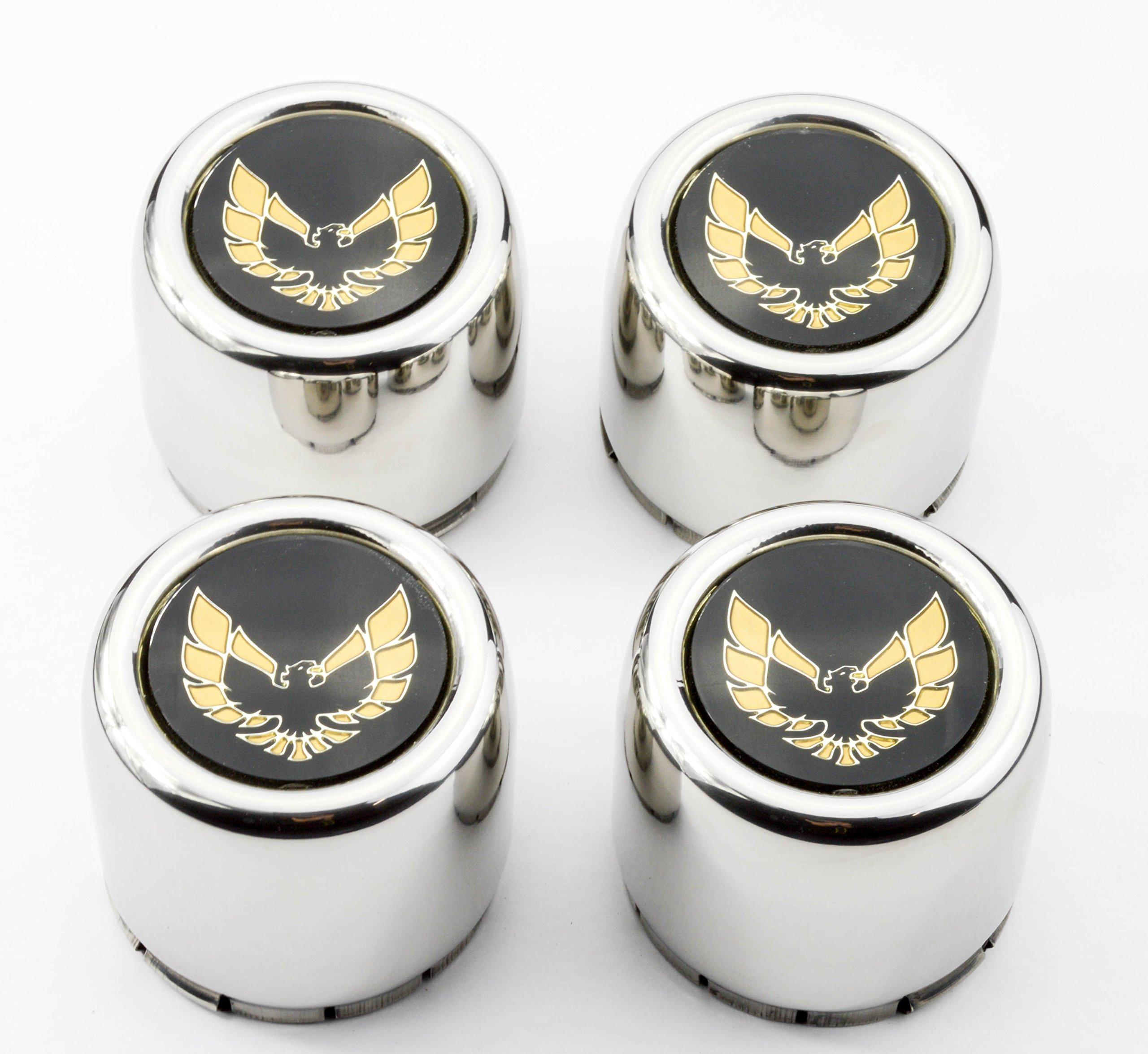 Set of 4 New 77-81 Firebird Trans Am TA Snowflake Turbo Wheel Stainless Steel Metal Center Caps Gold Bird