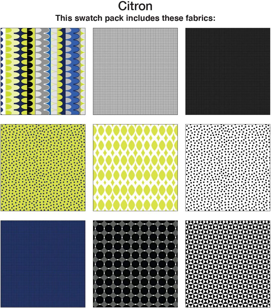 Fat Quarter Bundle Benartex 9 pc Contempo Gridwork Citron