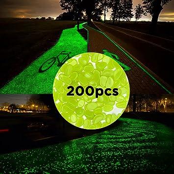 MEYUEWAL Glow in The Dark Pebbles 200PCS Glow Stones Guijarros Luminosos para pasarelas, senderos,
