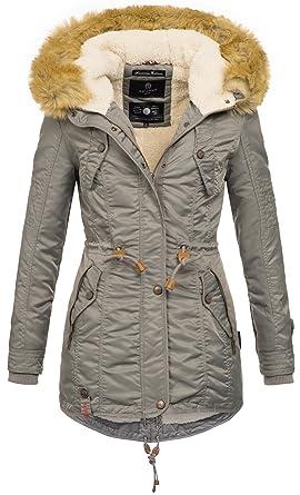 e3d0535a727e4a Navahoo warme Damen Winter Jacke Teddyfell Winterjacke Parka Mantel B399  (XS, Grau)