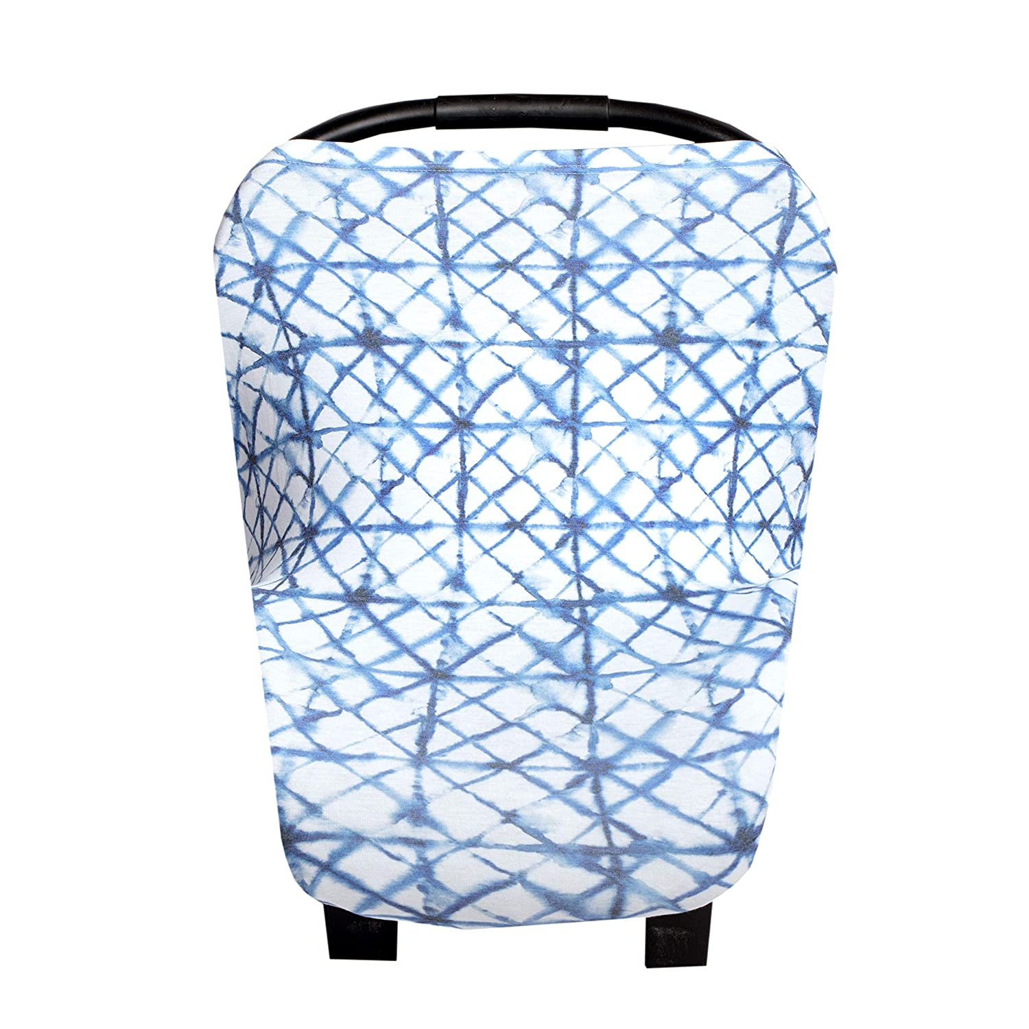 Baby Car Seat Cover Canopy and Nursing Cover Multi-Use Stretchy 5 in 1 Gift'Indigo' by Copper Pearl